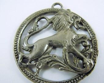 Vintage Leo Lion Medallion Pendant