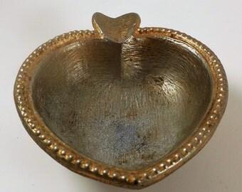 Vintage Metal Heart Shaped Ashtray Trinket Dish Valentines