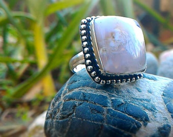 Superb ring in 925 sterling silver agate, this stone stabilizes the aura