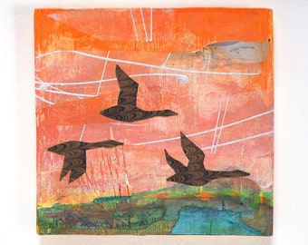 Small abstract landscape painting with geese in flight, mixed media art on reclaimed wood, gift for a nature lover, cabin decor