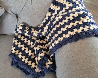 Navy and Tan Baby Blanket