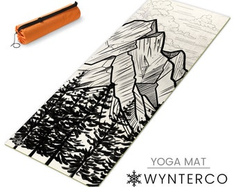 YOGA MAT - White mountain sketchy Yoga Mat, Trees and Mountains Yoga mat, Colorado tattoo style yoga mat black Black yoga mat, YOGA mat