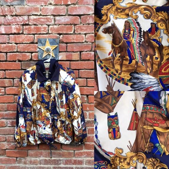 Native America Jacket // 80s 90s Native American Print Windbreaker Jacket With Hoodie Lining