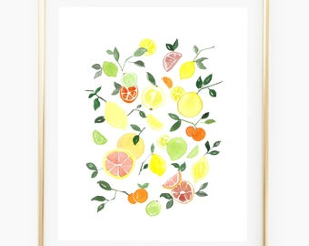 Citrus Tango - Watercolor Art Print 9x12