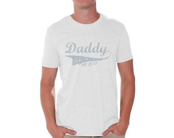Daddy Est 2017 Shirt T shirt Tops Gift for Husband New Dad Daddy To Be Fathers Day Future Dad
