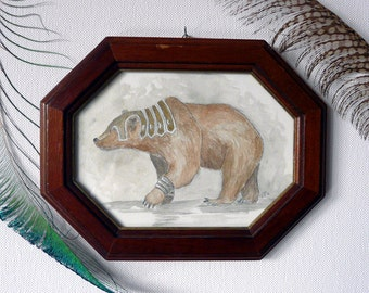 Original Watercolour Painting in an antique frame: Orsinium Warbear, War, Armour, Shabby Chic