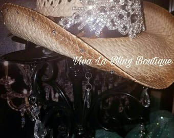 Custom BLING Cowboy / Cowgirl Hat - Clear Crystals Patch-  Rodeo Ready
