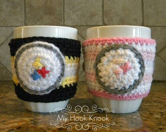 Handmade crochet Pittsburgh Steelers inspired coffee/tea mug cup cozy