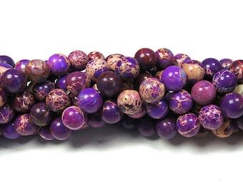 "Natural Purple Sea Sediment Jasper Beads 8mm Round Polished Imperial Impression Jasper 15.5"" Full Strand"