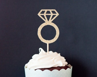 12 Diamond Ring Cupcake Toppers for Bachelorette Party, Stagette, Engagement Party, Bridal Shower, Hen Party