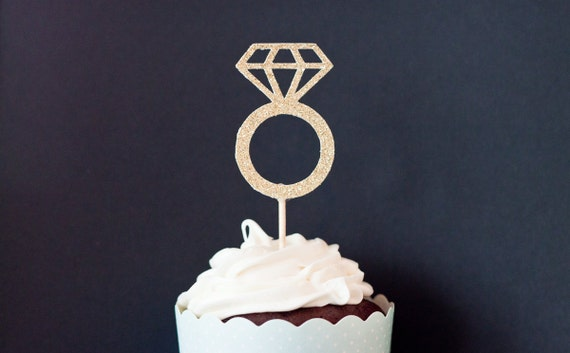 Diamond engagement ring shaped cupcake toppers