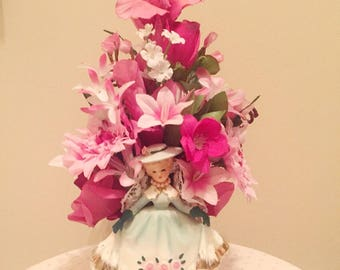 Beautiful Vintage 1950's Lady Planter, floral centerpiece