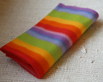 Fleece/pile fabric. 50x50 cm. Rainbow. Multicolor pile. Rainbow colored pile.