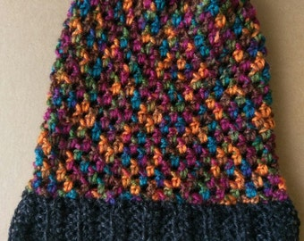 "The ""Miah"" Moss Stitch Crochet Slouchy Beanie Jewel Toned With Black Headband"