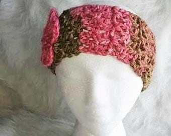 Pink and Olive Green Ear Warmer with Pink Flower Detail