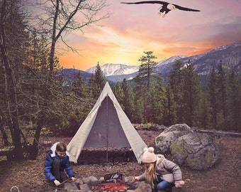 Camping, Outdoors Digital Background - Tent, Teepee - Nature Scene - Color Background - Mountain, Sky, Eagle Digital Backdrop - Photo Prop