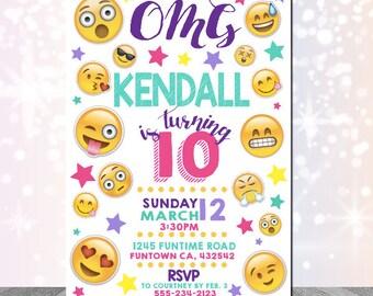 Emoji Invitation Personalized Digital File 24hour Turn Around Emoji Party Supplies