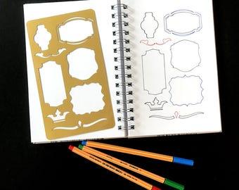 bullet journal stencil, planner stencil, pochoir bullet journal, journal stencils, bullet journal accessories, hobonichi stencil, stencil a5