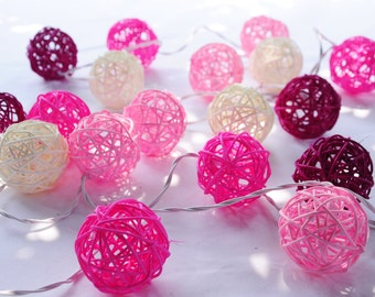 20 Pink Tone Handmade Rattan Balls Fairy String Lights Patio Party  Wedding Floor Table  Xmas Hanging Gift Christmas Home Garden Decor