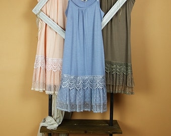 Ruffled Trim Slip Dress with Adjustable Straps