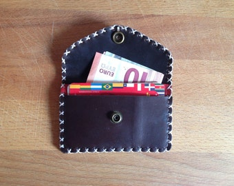 Leather wallet wallet card holder wallet with two compartments hand sewn