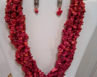 6 Strand Red Coral Necklace and Earring Set