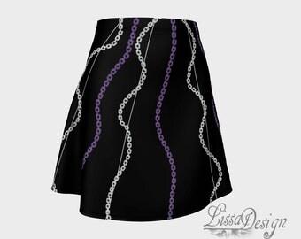 Printed skirt, flared skirt, chic skirt, woman skirt, trendy skirt, fashion skirt, black skirt