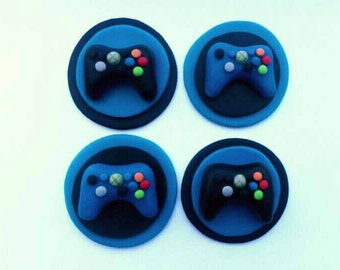 12 Edible X-Box Cupcake/Cookie Toppers - x-box cake decor / x-box party / gamer party / gamer cupcakes / gamer cookies