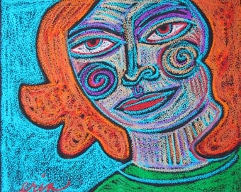 Strong Woman Redhead Oil Pastel Original drawing