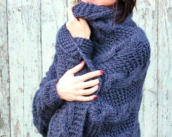 Clothing Women's Clothing Sweaters Cardigans hand knitted cardi cardigan loose sweater oversized cardigan r.designstore