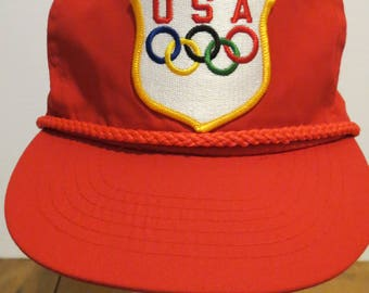 USA OLYMPICS Cap Hat Color Rings Red Braid Rope Trucker Snapback Patch