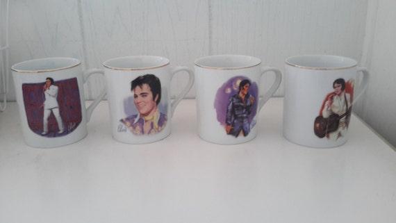 elvis 50th anniversary coffee mugs set of 4