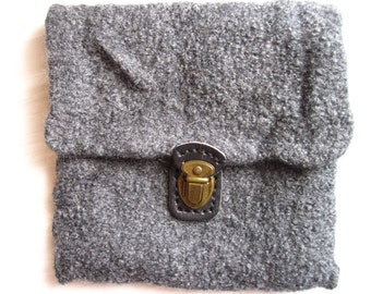Felt bag grey knit clutch + felting wool grey buckle leather wool bag