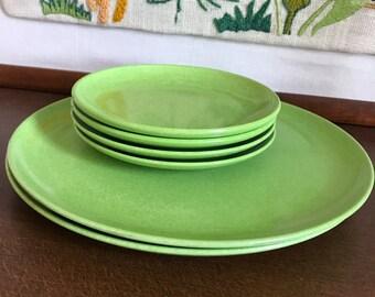 Branchell Color Flyte Melmac Plate Set of 6 - Dinner Plate Snack Saucer - Green Melamine - MCM Atomic 50s 60s Kitchen