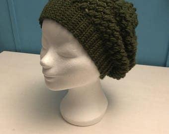 Wide hat, crochet in dark green