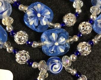Blue Glass Wraparound Bracelet (Small)