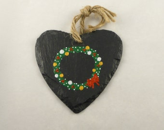 Real Slate Heart Tree pendant