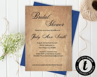Bridal shower invitation,bridal shower invitation template,wedding template,bridal shower,editable, kraft paper,5x7 template,you edit,DIY
