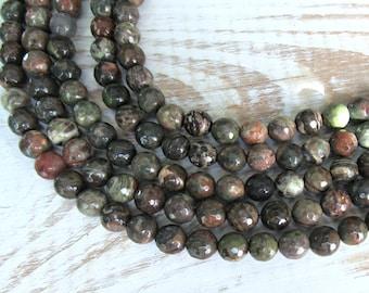 Faceted Rainforest Jasper 8mm, full strand, Jasper gemstone beads, green Jasper, gemstone 8mm, Rain forest Jasper, 8mm green jasper, DIY