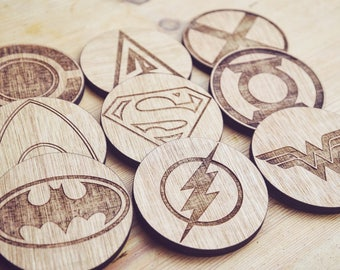 Justice League Wooden Coasters