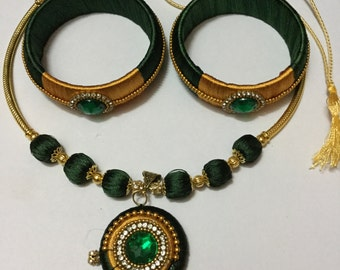 Silk thread bangle and necklace set.