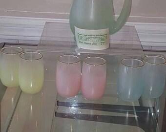 West Virginia Glass Blendo pitcher set