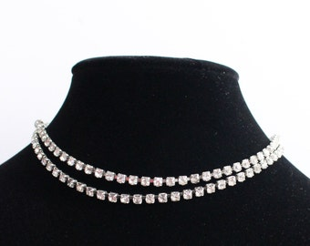 SO# 1033 Silver Tone Clear Rhinestone Double Strand Adjustable Length Necklace