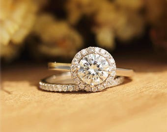 Fancy 6.5mm Charles And Colvard Round Moissanite Ring in 14K White Gold/Wedding&Engagement Ring/Promise Ring/Anniversry Ring set unque ring