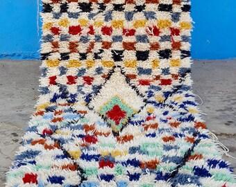 Beni Ourain handmade Moroccan rug Boucherouite  6,8 x 4,5  Feet