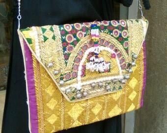 Large ethnic clutch embroidered Boho vintage