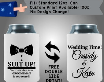 Suit Your Service As A Groomsman Is Requested Wedding Time Names Collapsible Fabric Wedding Cooler Double Side Print (W198)