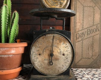 Antique Universal Family Scale Co. 24lb Cast Iron Kitchen Scale, Rustic Kitchen Decor, Photo Prop, Country Kitchen