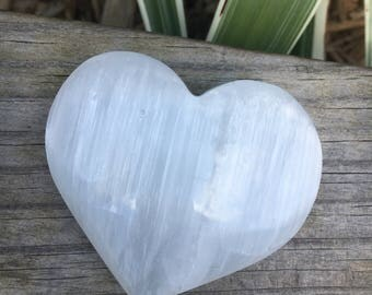 SELENITE HEART 3 inch by 3 inches