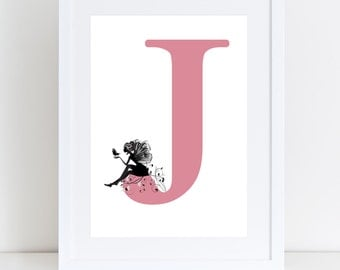 Initial letter and fairy print